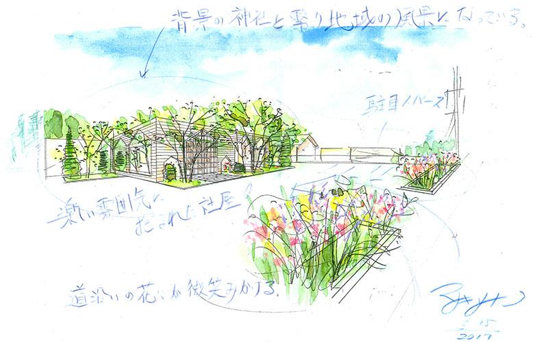 あっとリフォーム 正木さんによる植栽のイメージスケッチ